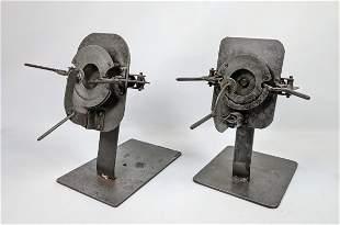 Pair Industrial Object Sculpture. Mechanical.