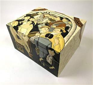 La Belle Night of The Rich Tobacco Humidor Box. Carved