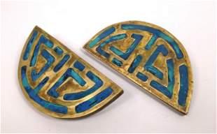 Pr Large Stamped Mendoza Door Handles. Mexican Bronze L