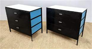 Pair GEORGE NELSON Blue Steel Frame Bachelor's Chest Dr