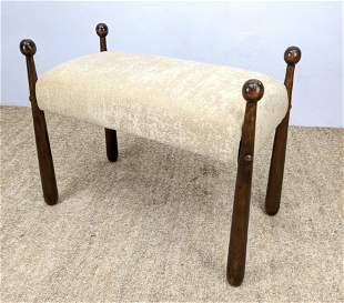 Jean Royere style Drumstick Leg Stool Bench. Cream chen