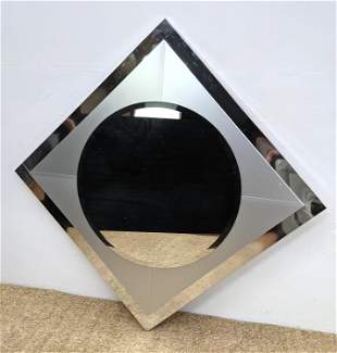 Modernist Silver and Mirror Wall Mirror. Round Mirror i