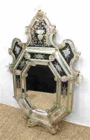 Fancy Venetian Wall Mirror. Applied details.