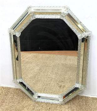 Venetian Murano Mirror with mirrored frame. Applied de