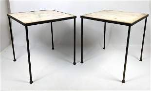Pair small Iron and Marble Side Tables.