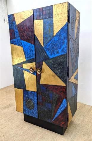 Custom Two Door Cabinet. style of Paul Evans. Raised we