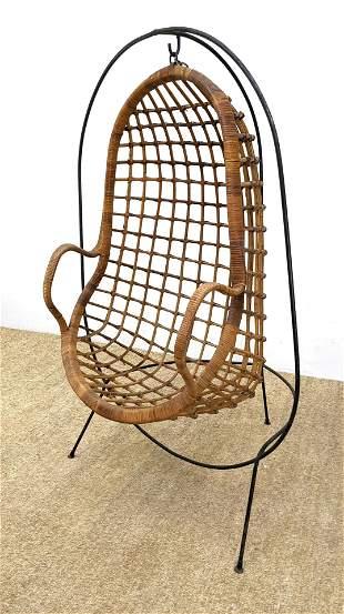 Hanging Woven Rattan Egg Chair. Black Metal Frame.