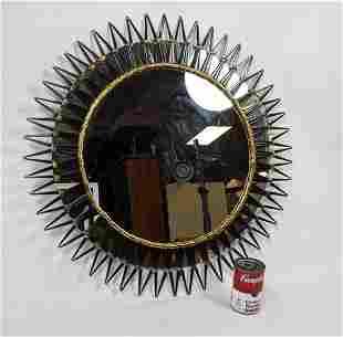 Two Tone Metal Framed Round Wall Mirror. Cut Nail desig