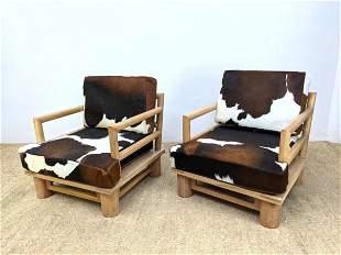Pr Cowhide Cushion Lounge Chairs. Jean Michael Frank st