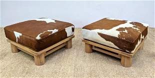 Pr Cowhide Cushion Footstools Ottomans. Jean Michael Fr