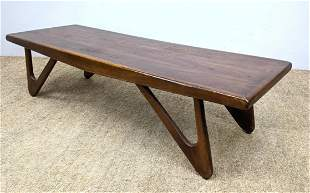 American Modern Wood Coffee Cocktail Table. Open Form A