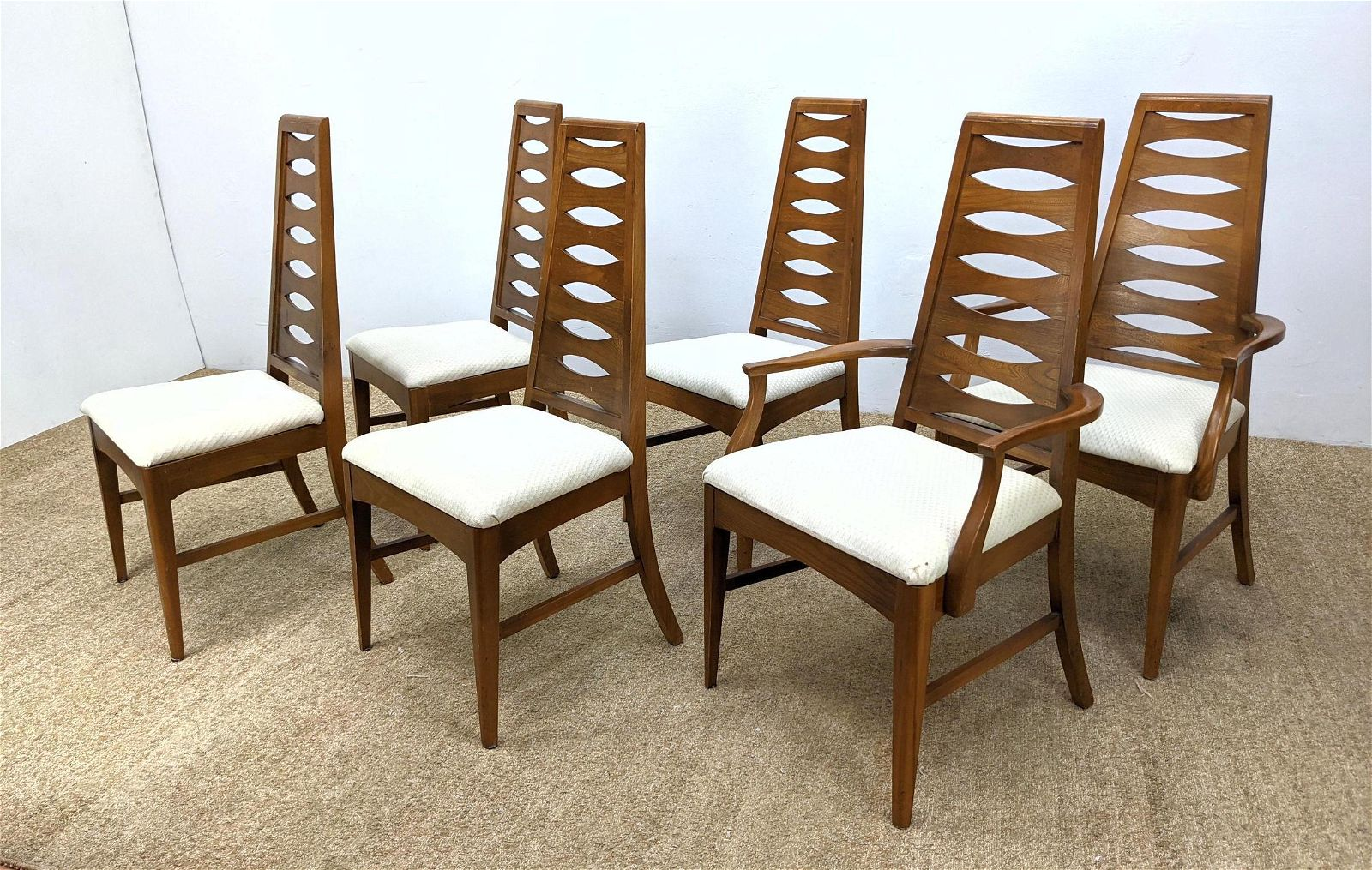 Set 6 Tall Back Modernist Dining Chairs. Angled wood ba