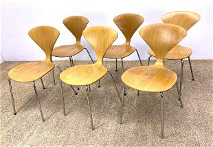 Set 6 NORMAN CHERNER Ant Dining Chairs. Laminated wood