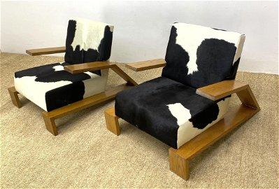 Pair Oak Jean Michel Frank Style Lounge Chairs. Pr Oak