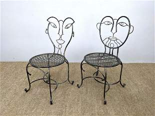 Pr Metal Side Chairs. His and Her Faces. Woven diamond
