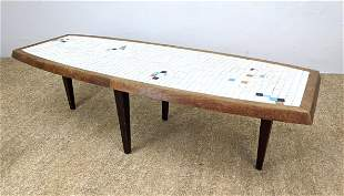 MCM Elliptical Tile Top Coffee Table.