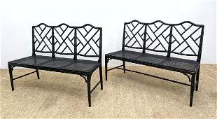Pair Faux Bamboo Settee Benches. Cane Seat. Ebonized.