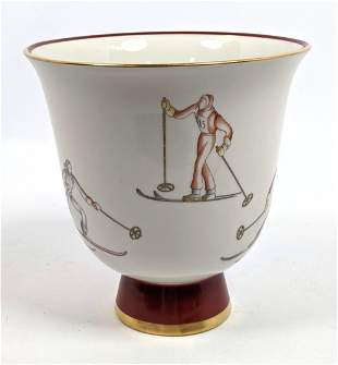 GIO PONTI for RICHARD GINORI Skier Vase. Porcelain Flar