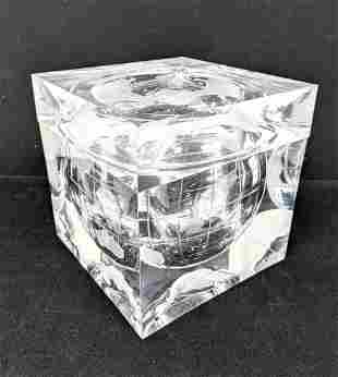 Modernist Clear Lucite Ice Bucket. Interior decorated w