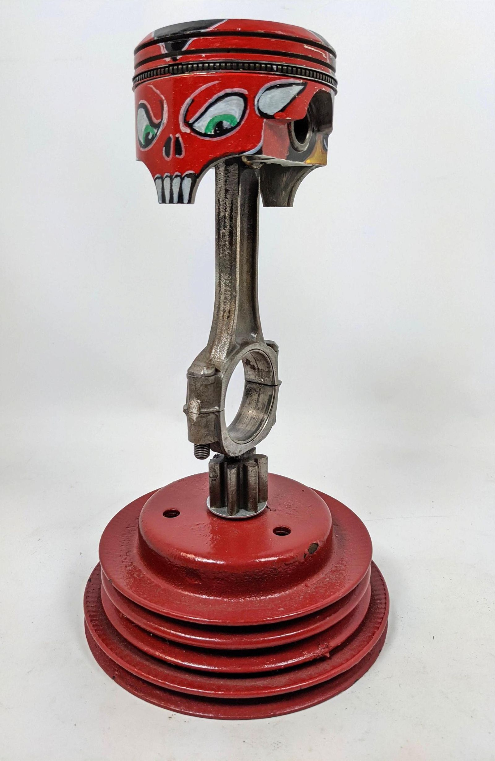 Industrial Painted Piston Table Sculpture.