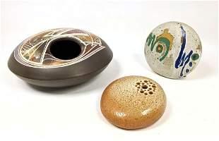 3pcs Studio Art Pottery. Flower holders and vases. all