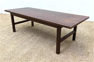 American Modern Walnut Coffee Table. Overhang top.