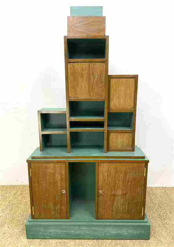 Paul Frankl style Art Deco Skyscraper Cabinet. Painted