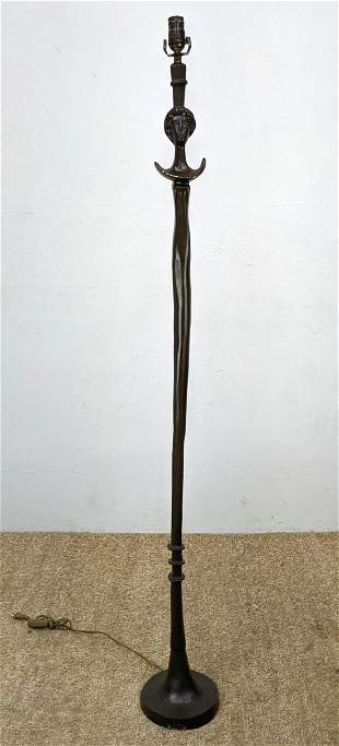 ALBERTO GIACOMETTI Style Bronze Figural Floor Lamp. 'Te