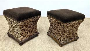 Pr Animal Print Upholstered Benches Stools. Printed cow