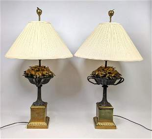 Pair Decorator CHAPMAN Table Lamps. Brass Urn form wit