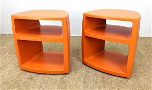 Pr KNOLL Orange Molded Plastic Storage Units. Night Sta