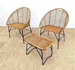 3pc Woven Rattan Black Metal Chairs Ottoman. Pr Barrel
