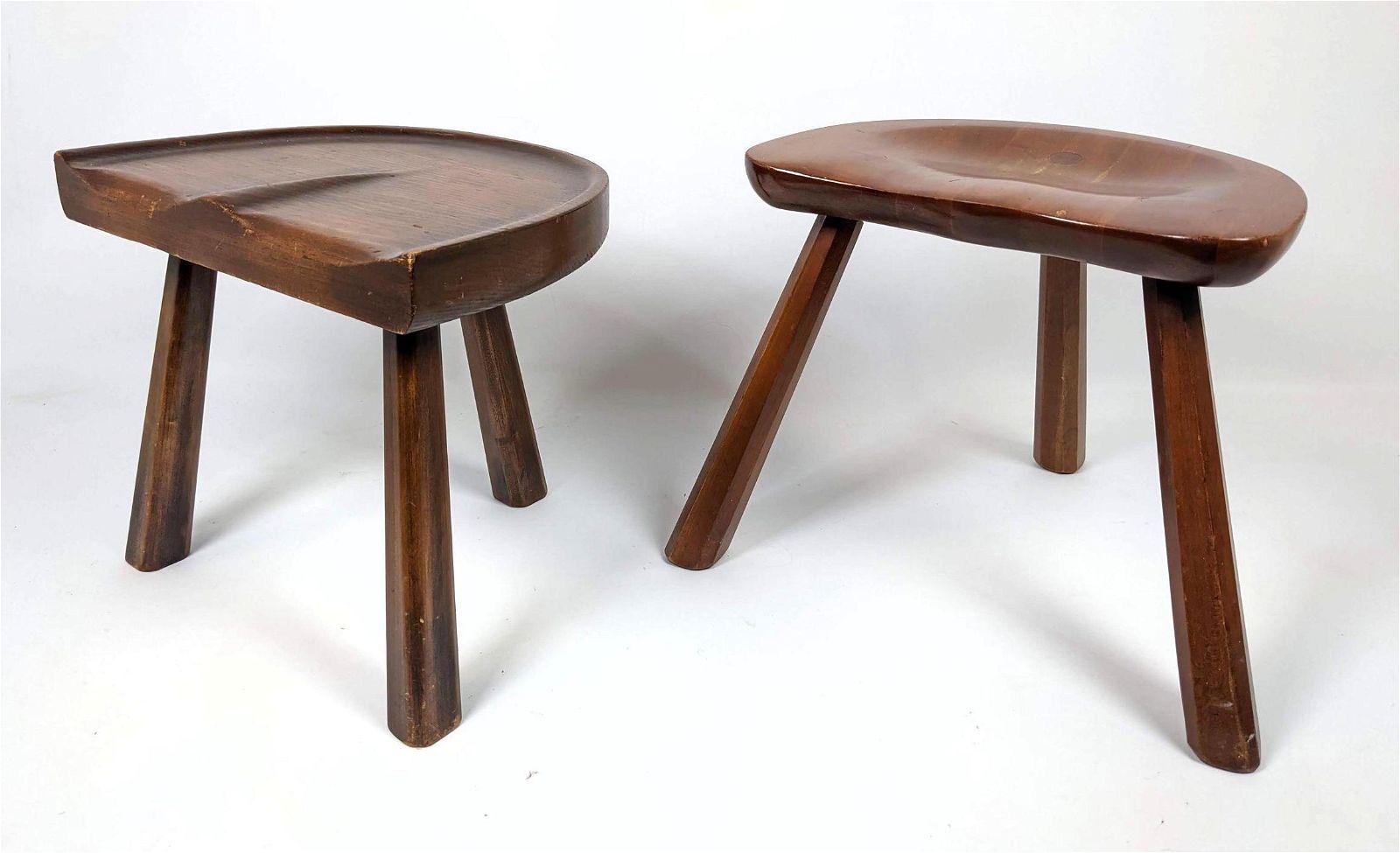 2 carved seat Three Leg Stools. 1 Pennsylvania House.