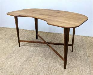 Artisan Woodworker Desk Table. Shaped Top on Elegant ta