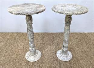 Pr Italian Marble Column Display Pedestals. Marked Made