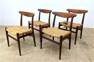 Set 4 HANS WEGNER Bowed Back Dining Chairs. Danish Mode