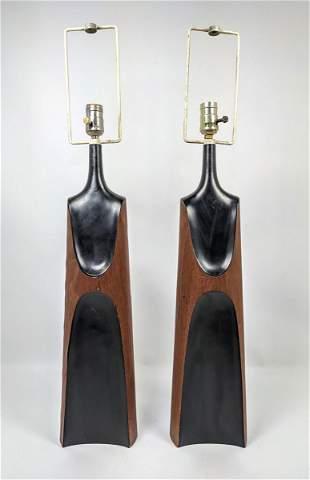 Pr Tall Modernist Table Lamps. Elegant sculptural forms