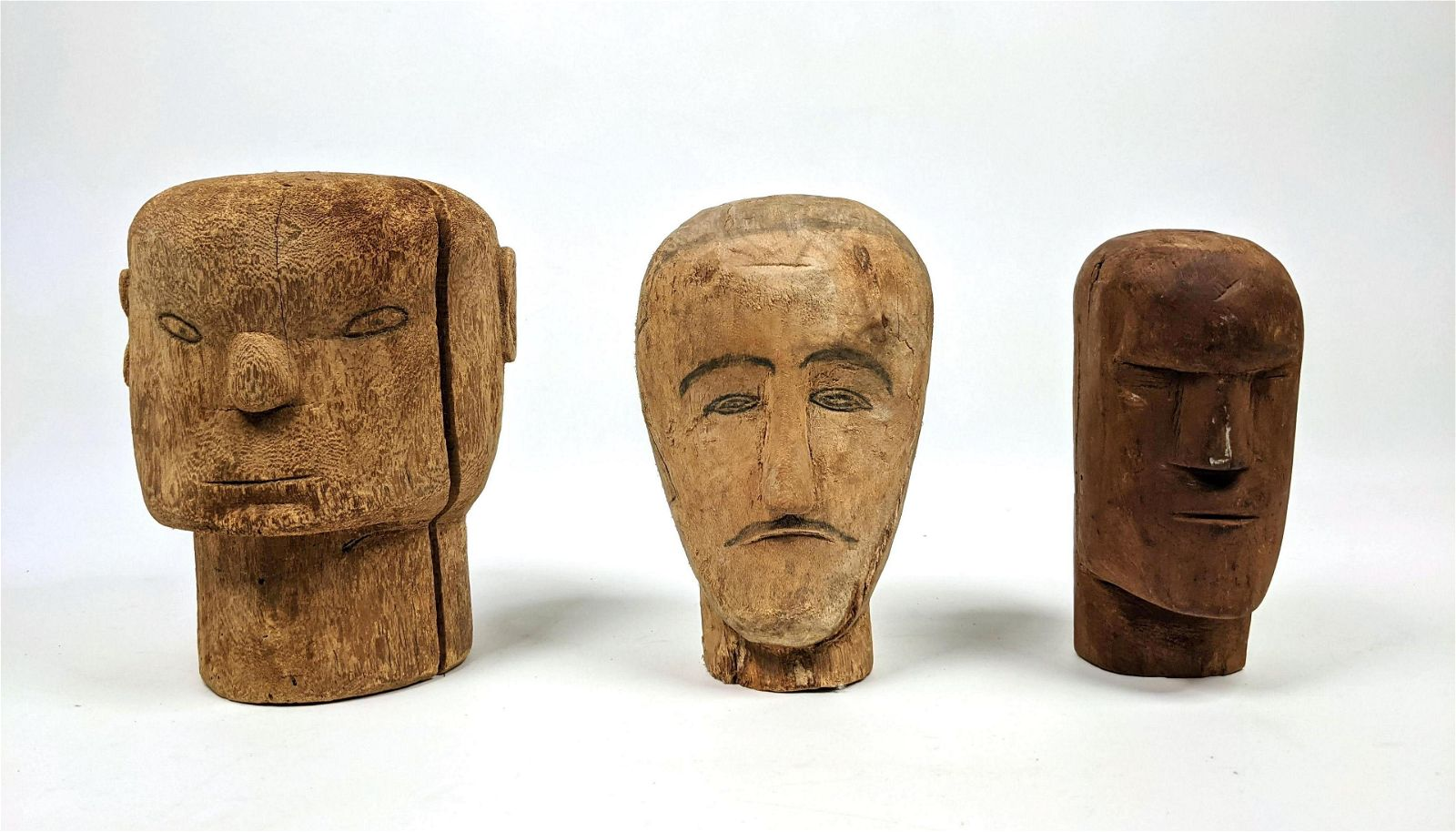 Collection of 3 Carved Wood Heads.