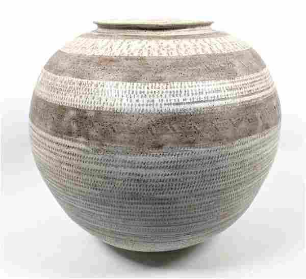 Signed Art Pottery Large Vase. Striped Banded Glaze Des