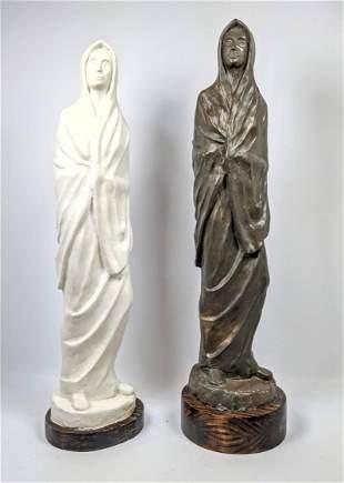 2 pcs Plaster carved Sculptures. Unsigned.