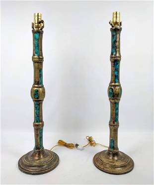 Pair Stamped Mendoza Table Lamps. Enameled brass.