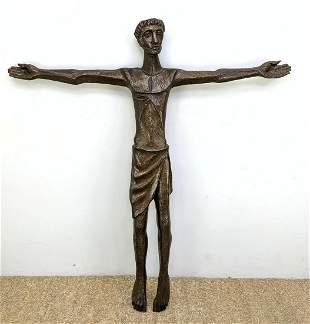 Vintage Heavy Bronze Crucifix Figure Sculpture. Unsigne