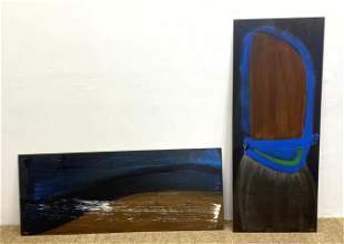 2pc EUGENI TORRENS Abstract Acrylic Paintings on Wood.