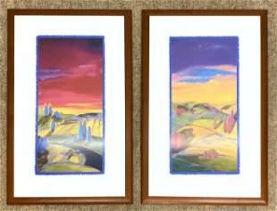 "2pc B H BRODY Landscape Print. ""Peaceful Land I & II"" B"