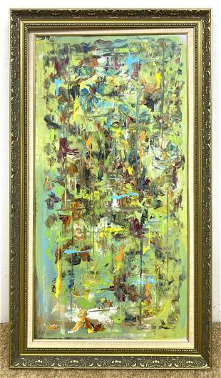 ZIMBA Abstract Modernist Painting. Green Blue Green Acr