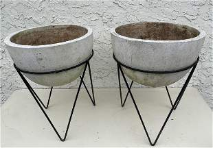 Pr WILLY GUHL Style Bowl Form Planters. Architectural P