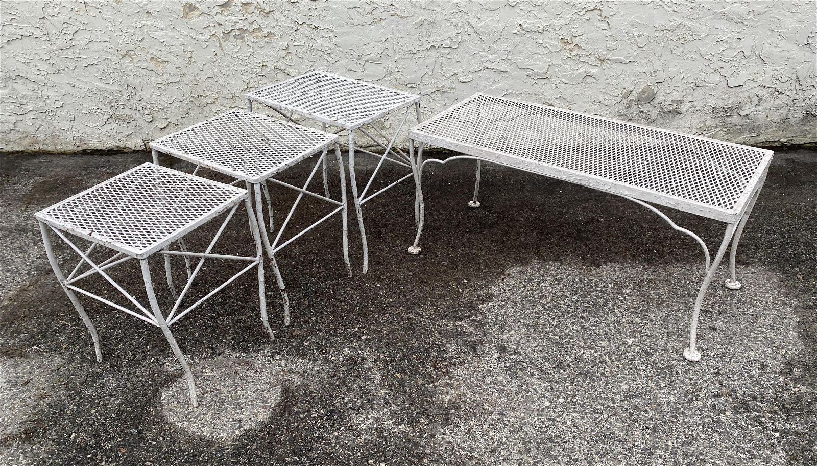 outdoor Iron Patio Tables. Coffee Table and Nesting Ta