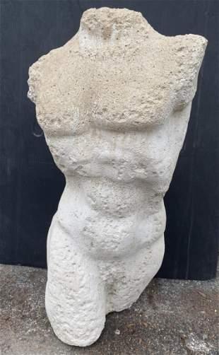 Cast Stone Male Torso Sculpture. Outdoor Garden