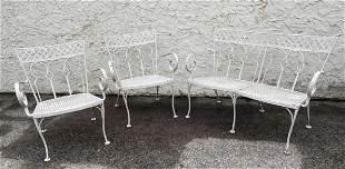 3pc SALTERINI Outdoor Iron Set. Love Seat and Pr Arm Lo