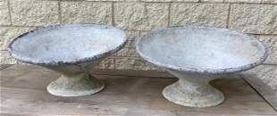 Pair WILLY GUHL Corseted Planters. Angled form. Outdoor